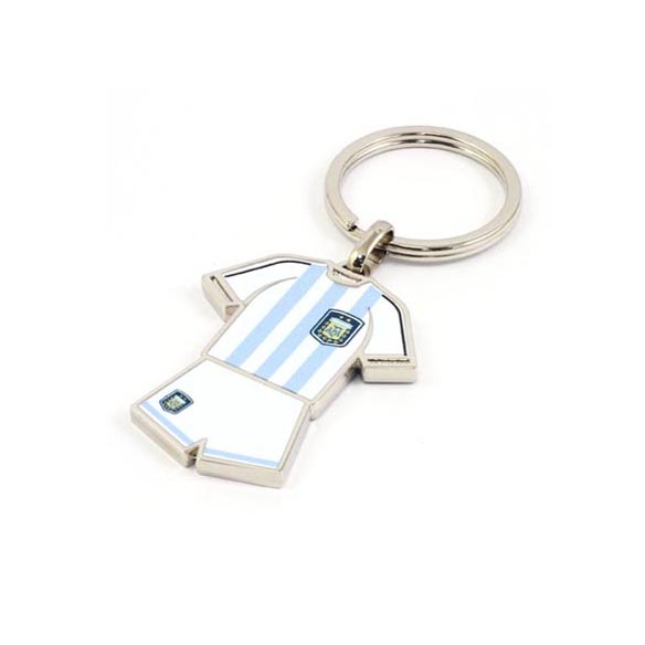 One side of white and blue striped soccer jersey keyring