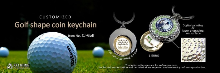 Customized Golf Shape Coin Keychain-CJ-Golf