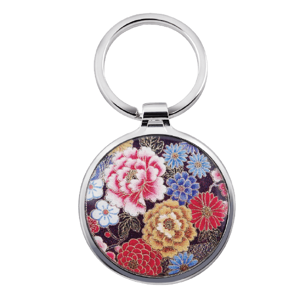 Simple Round Custom Logo Metal Keyring with beautiful flowers