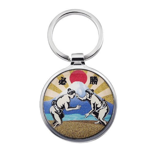 Simple Round Custom Logo Metal Keyring with Japanese people playing sumo