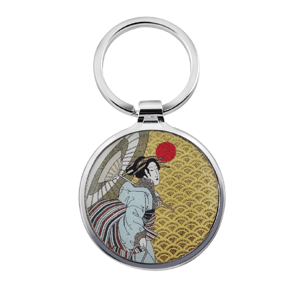 Simple Round Custom Logo Metal Keyring with Japanese traditional painting