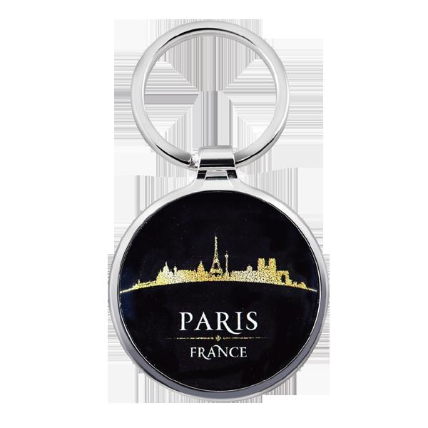 Simple Round Custom Logo Metal Keyring with paris city view painting