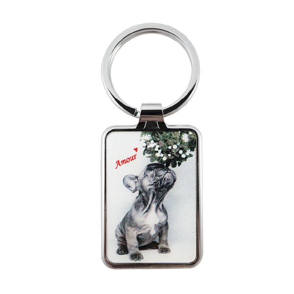 promotional keyring with a cute dog in paris