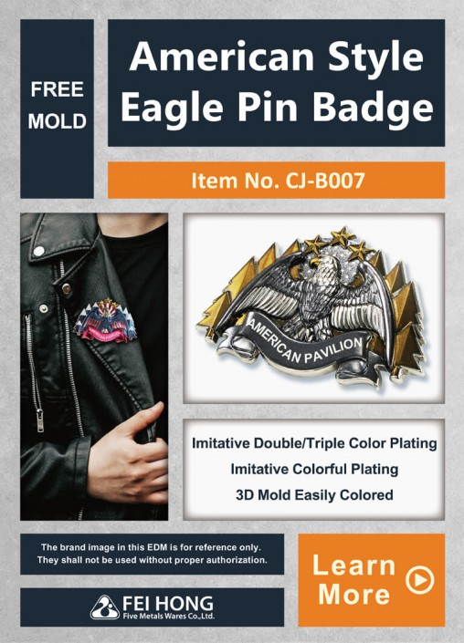 Custom American Style Eagle Pin Badge