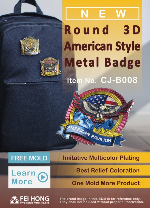 Customized American 3D Metal Pin Badge