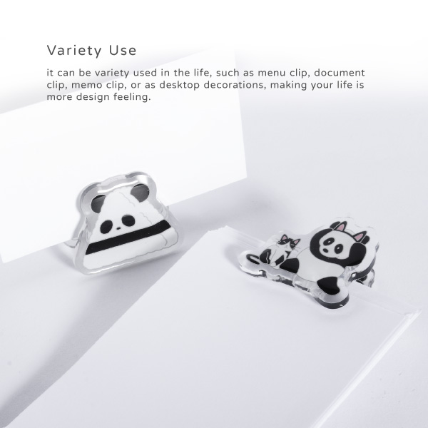 Variety Use. It can be variety used in the life, such as menu clip, document clip, memo clip, or as desktop decorations, making your life is more design feeling.
